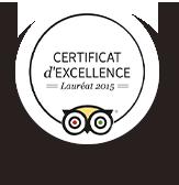 Certificat d'Excellence Lauréat 2015 tripadvisor